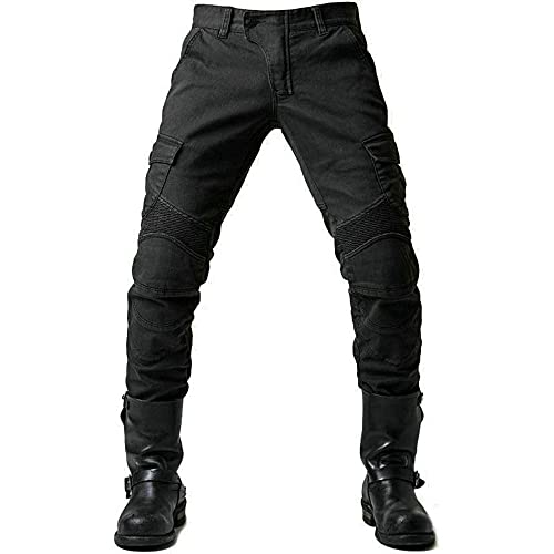 Pantalones Moto Hombre con Protección Carreras Invierno, Pantalones Hombre Verano Deporte Motocross Motocicleta Pantalón Trabajo Elástico (Negro, L)