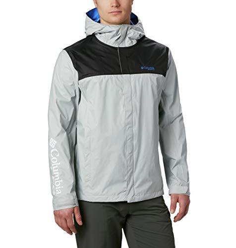 Columbia Men's PFG Storm Jacket, Cool Grey, Vivid Blue, Medium