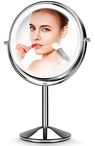 Makeup Mirror with Light,10X Magnification Makeup Mirror,JOMARTO Vanity Mirror,Double Sided Dimmable Cosmetic Mirror with Touch Control 360Rotation Battery Powered, Lighted Makeup Mirror