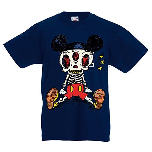 lepni.me Camisas para niños Esqueleto de un ratón (7-8 Years Azul Oscuro Multicolor)
