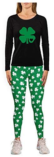 Roupa de Dia de São Patrício para mulheres legging trevo irlandês camiseta de manga comprida, Leggings preta/trevo camiseta preta, Leggings Small / Clover Tee Large