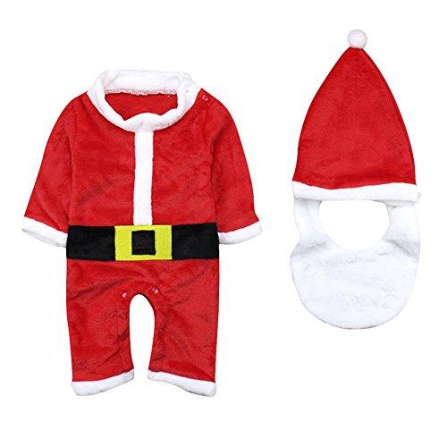 Le SSara Inverno del bambino Natale pagliaccetto neonato body vestito cappello & barba 3 pz (6-12 Mesi)