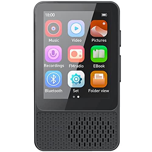 Timoom Lettore MP3 Player 32GB Bluetooth 5.0 Full Touch 2.4  Screen MP4 per Sport Lossless HiFi Musicale Con Radio FM Contapassi Altoparlante Registrazion Supporto Fino a 128GB, M8 Nero