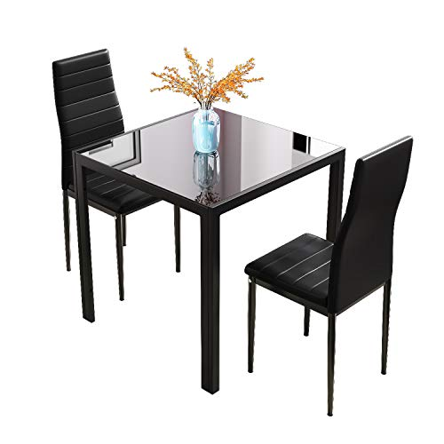 Joolihome Dining Table and Chairs Set of 2, Square Glass Coffee Table and 2 PU High Back Chairs with Metal Legs, Dining Room Furniture Set for Home, Office, Kitchen, Balcony, Garden (Black)