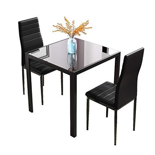Joolihome Esstisch und Stühle, 2er-Set, quadratischer Glas-Couchtisch und 2 PU-Stühle mit hoher Rückenlehne mit Metallbeinen, Esszimmermöbel-Set für Zuhause, Büro, Küche, Balkon, Garten (schwarz)