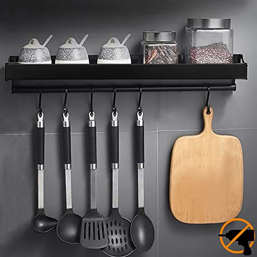 MOOING Küchenhalterung ohne Bohren mit 6 Haken, Küchenregal Wand für Gewürze, Hakenleiste Küchenhelfer Hängeleiste, Aluminium Gewürzregal,Matte Finish,für Küche und Bad