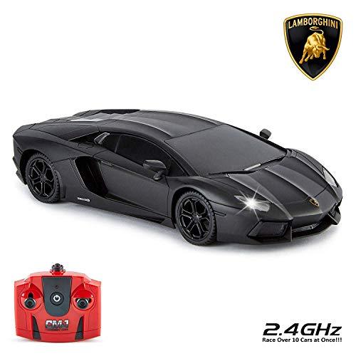 Licence officielle de voiture télécommandée Lamborghini Aventador LP700-4 au 1:24 CMJ RC Cars ™, lampe de travail 2,4 GHz, noir mat