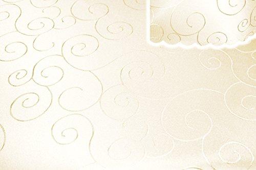 Tafelkleed hoekig 160x220 cm structuur damast tafellaken cirkel strijkvrij #1285 modern 160x220 eckig champagne