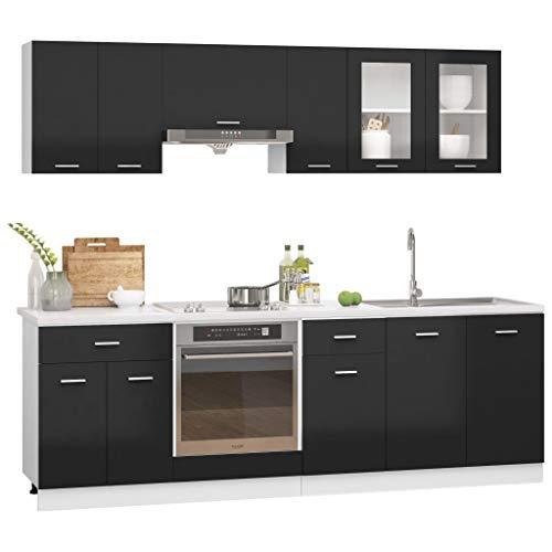 vidaXL Juego de Muebles de Cocina 8 Piezas Comedor Mobiliario Estante Armario Almacenaje Microondas Fregadero Lavavajilla Aglomerado Negro Brillo