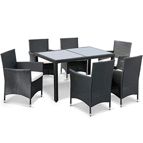 ADIBY Juego de sillas de comedor de mimbre para exteriores de 7 piezas, muebles de ratán de patio con cojín beige y mesa de escritorio de cristal (negro)