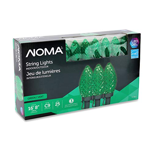 NOMA LED Christmas Lights | 25-Count C9 Green Bulbs | 16' 8' String Light | UL Certified | Outdoor & Indoor