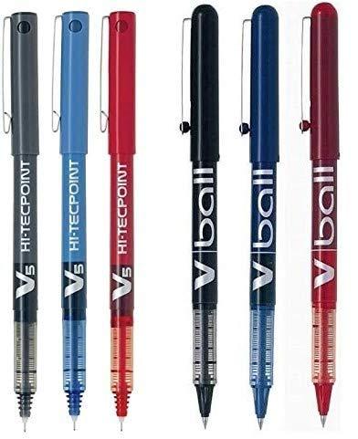 Pilot-3 Rotuladores BX V5 Hi-Tecpoint + 3 Pilot V-BALL 0,5 (Colores Azul,Negro y Rojo)