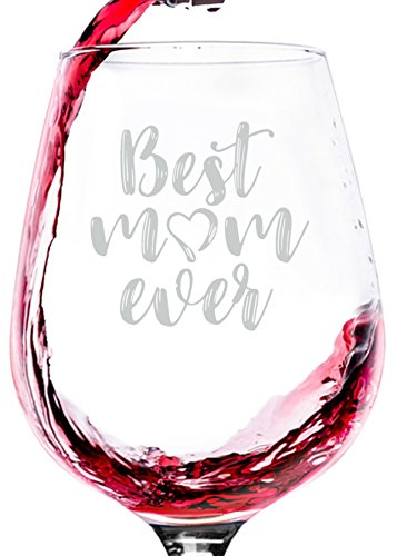 Best Mom Ever Wine Glass - Unique Christmas Gifts for Mom, Women - Top Xmas Gift Idea for Her from Daughter, Son, Husband - Cool Birthday Present for a New Mother, Wife - Fun Novelty Wine Gift - 13 oz