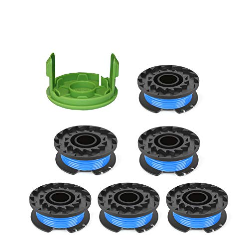 "THTEN Weed Eater Spools Replacement for Greenworks 29092 21302 24 Volt 40V 80V Cordless Trimmer 16ft 0.065"" Single Line String Trimmer with 3411546A-6 Cap Covers Parts Auto-Feed String Edger .(6 Spool"