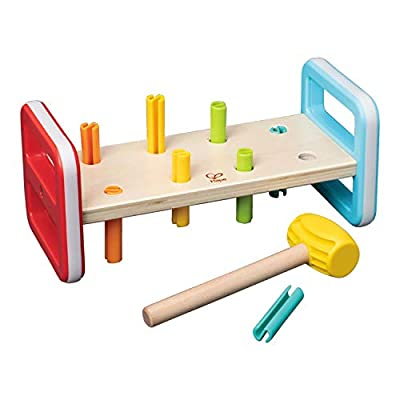 Hape Rainbow Pounder| Pounding Bench Wooden Toy with Hammer, Multicolor
