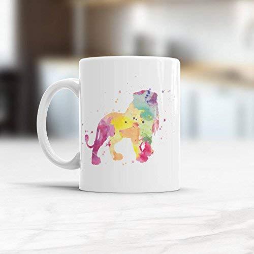 N\A Taza de café de león Taza de Rey león Regalo para Hermano Taza de café de Acuarela Taza de león Tazas de café Frescas Tazas de león Taza de Rey León Regalos de león