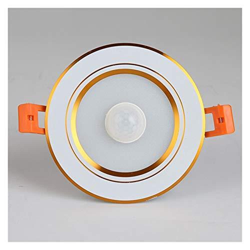 Downlight De techo del LED Smart Home sensor de movimiento hacia abajo del panel luz 5W 7W 9W 12W for Pasillo Escaleras Depot Sala Infantil Lámparas ( Emitting Color : Gold , Wattage : 5w cold white )