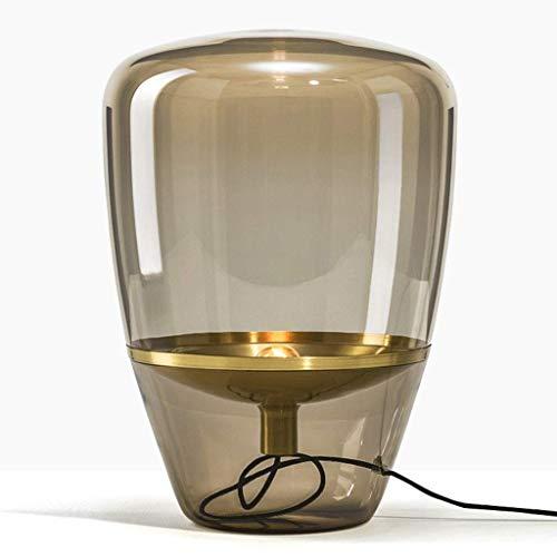 HWOYD Lámpara de mesa de noche de estilo nórdico, para sala de estar, estudio, simple y moderna, con cubierta de cristal retro (tamaño grande: