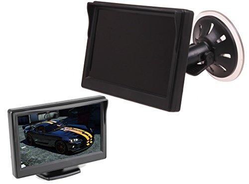 5 pouces HD 800 x 480 Parking de voiture numérique LCD TFT LED Mini écran de moniteur inversé avec vue arrière avec fenêtre, tableau de bord d'aspiration, deux supports pour caméra de recul, voiture, maison, vidéosurveillance, sécurité