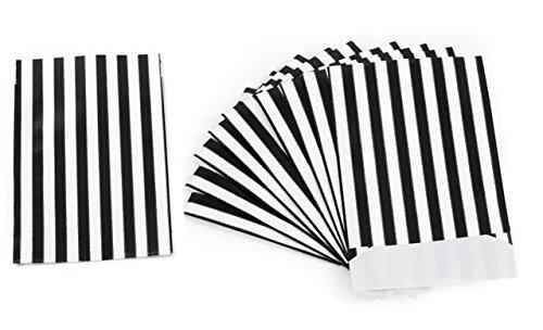 25 kleine Mini-Papiertüte Mini-Tüte SCHWARZ WEISS GESTREIFT 9,5 x 14 + 2 cm Lasche Papierbeutel Verpackung Gastgeschenk Mitgebsel give-away Schmuck-Tüte Kinder-Tüte Geschenk verpacken