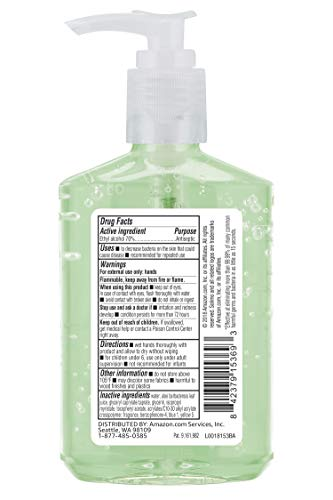Amazon Brand - Solimo Hand Sanitizer with Vitamin E and Aloe, 8 Fl Oz (Pack of 1)