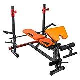 Silla de Fitness Mesa de Rack Peso en Cuclillas Cama Multifuncional de Peso Ajustable de la Cama Press de banca con Barra aparatos de Ejercicios Bancos (Color : Orange)