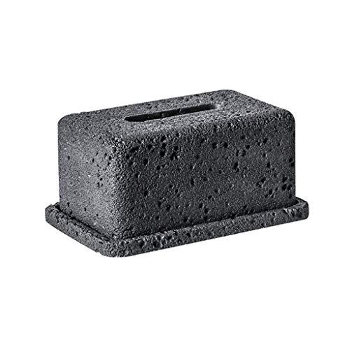 WPBOY Boîte à mouchoirs en béton pour le visage - Support de boîte à mouchoirs pour salle de bain, comptoirs, chambre à coucher, salon, commode, décoration - Couleur : noir