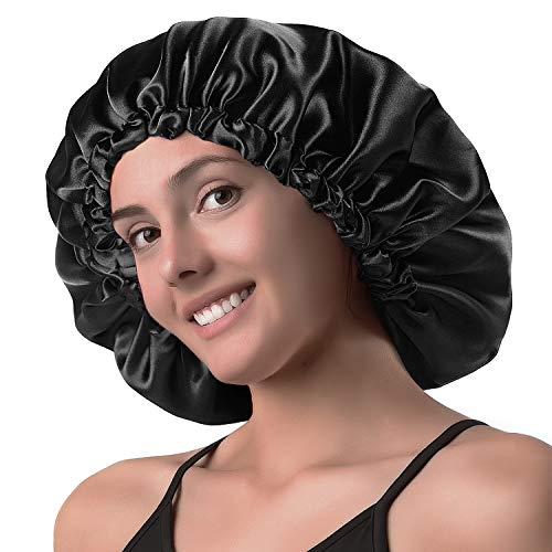 YANIBEST Satin Bonnet Sleep Bonnet Cap - Extra Large, Double Layer, Reversible, Adjustable Satin Cap...
