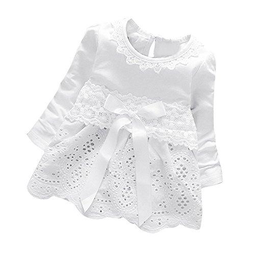 K-youth Vestidos para Niñas Bebes Ropa Bebe Niña Recien Nacido Vestido Bebe Niña Invierno Encaje Vestido De Princesa Niña Vestido de Manga Larga con Cuello Redondo para Niñas(Blanco, 0-6 Meses)