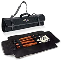 3 Piece NFL Baltimore Ravens BBQ Set with Tote Bag Sports Football Grilling Kit Garden Patios Outdoor BBQ Utensils Barbecue Grill Multi Tools Spatula, Tongs, Fork, Fans Gift, Stainless Steel, Wood