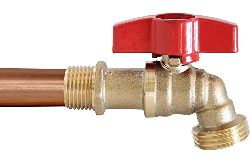 """1/2"""" MIP & 1/2"""" Sweat Lead Free Brass Ball Valve Hose Bibb w/Extra Large Handle and Extended Body"""