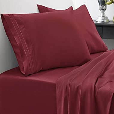 1500 Series Bed Sheet Set - HIGHEST QUALITY Brushed Microfiber 1500 Bedding - Wrinkle, Fade, Stain Resistant - Hypoallergenic 4 Piece Bed Sheet Set - Queen, Burgundy