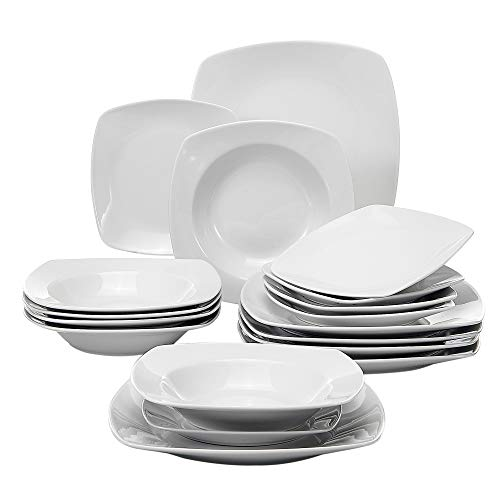 MALACASA, Series Julia, 18-Piece Dinner Sets Ivory White Porcelain Dinner Plate Sets with 6-Piece Dessert Plates 6-Piece Soup Plates and 6-Piece Dinner Plates