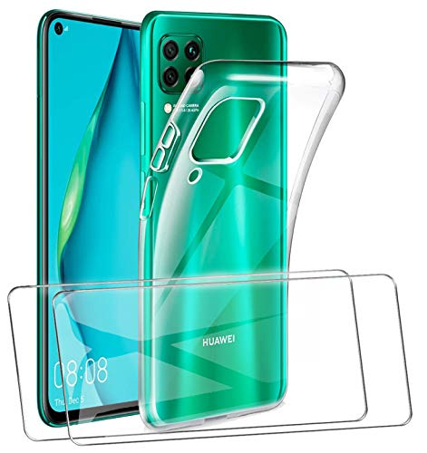 HTDELEC Huawei P40 Lite Hülle + 2 Stück Panzerglas Schutzfolie,Transparent Handyhülle Cover Soft TPU Silikon Schutzhülle Tasche für Huawei P40 Lite-03