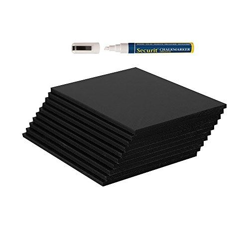 Spar-Set 10 x Kreidetafeln A7 + 1 Kreidemarker - ideal als Angebotstafel in der Gastronomie - beschreibbare Tischtafeln A7