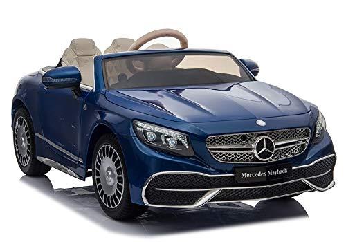 Vehículo infantil Mercedes Maybach, color azul, neumáticos de goma EVA, asiento de coche