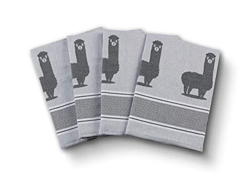saewelo 4er Set Geschirrtücher | 100% Baumwolle, 50x70 cm | als Küchentücher, Baumwolltuch oder Trockentuch (Alpaca, Grau)