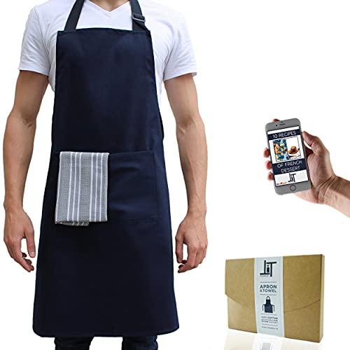 Tempery ✮ Tablier de Cuisine pour Homme et Femme - Qualité Supérieure 100% coton - Grande Poche Centrale -Sangle Ajustable toutes Tailles-Navy- OFFERTS: Torchon de Cuisine + Ebook 10 recettes