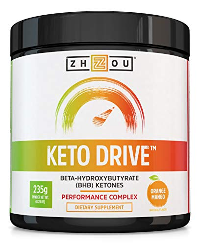 Keto Drive Exogenous Ketone Performance Complex - BHB Salts - Formulated for Ketosis, Energy and Focus - Patented Beta-Hydroxybutyrates (Calcium, Sodium, Magnesium) - Orange Mango