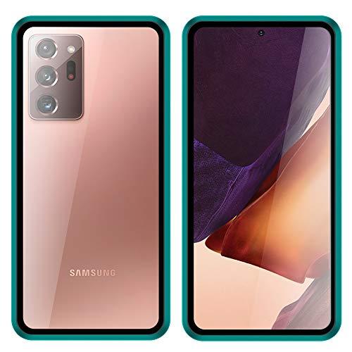 DWaybox Custodia a corpo completo per Samsung Galaxy Note20 Ultra 5G, con copertura in metallo ad assorbimento magnetico antigraffio in vetro temperato trasparente anteriore e posteriore - verde