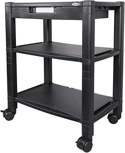 Kantek - Soporte para impresora móvil con 3 estantes y cajón organizador, Extraancho, 3 estantes