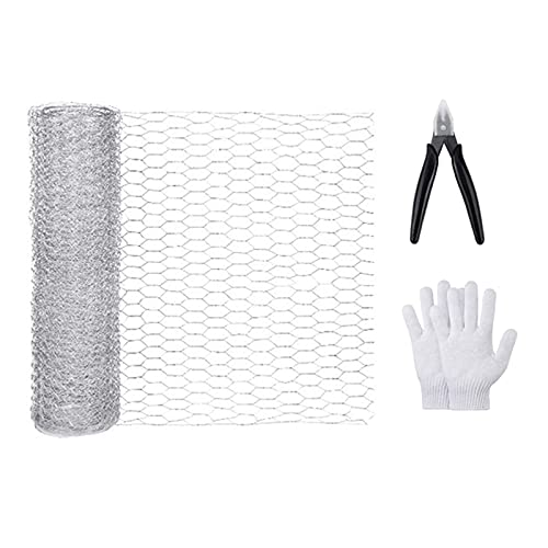 Sogaml Chicken Wire Net,Galvanized Hexagonal Poultry Net Fence Netting Wire Mesh with Wire Cutting Pliers and Gloves for Crafting Projects, 1ft x 16.4ft