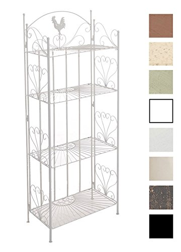 CLP Standregal MIA aus Eisen I Klappregal mit 4 Ablagefächern im Landhausstil I erhältlich, Farbe:weiß