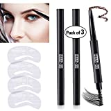 3 Colors Eyebrow Pencil Set Waterproof Drawing Automatic Eye Brow Long Lasting Sweat Proof Brown Black Grey 4 Eyebrow Stencils