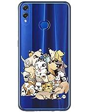 Oihxse Case Transparente Suave TPU Compatible con Huawei Honor 8S/Y5 2019 Funda [Lindo Caricatura Flor Serie Dibujos] Cristal Protector Carcasa Anti Rasguños Bumper Cover-Perro