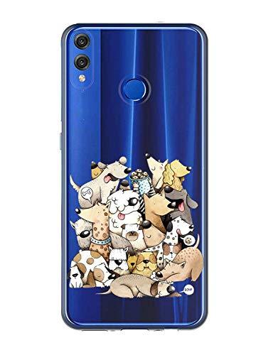 Oihxse Case Transparente Suave TPU Compatible con Huawei Y5 2018/honor 7s Funda [Lindo Caricatura Flor Serie Dibujos] Cristal Protector Carcasa Anti Rasguños Bumper Cover-Perro