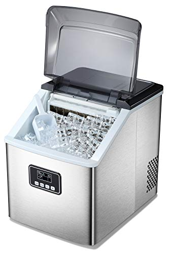 Antarctic Star Ice Maker Machine Countertop,Portable Automatic 24 Ice Cubes Ready in 10-15 Minutes,Makes 48 lbs of Ice per 24 Hours,Self-clean,See-through Lid Square For Home/Bar/Party Silver