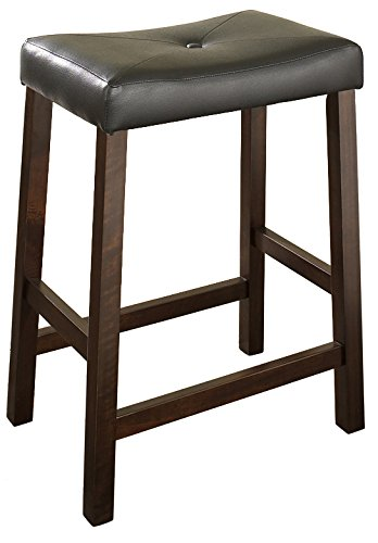 Crosley Furniture Upholstered Saddle Seat Bar Stool (Set of 2), 24-inch, Vintage Mahogany