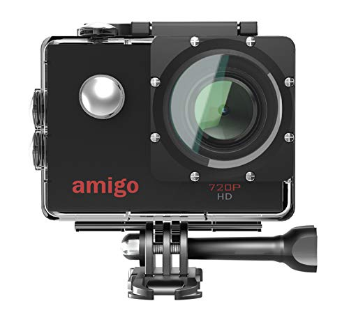 Amigo AC-11 HD Sports Action Camera with 12MP High Resolution Lens   720p HD Image with Wide Angle Lens and Waterproof Upto 30 Meters (Black)   Works Best with Class 10 Micro SD Card