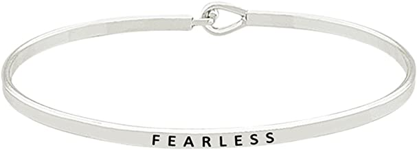 Glamour Girl Gifts Collection Inspirational Fearless Engraved Thin Brass Bangle Hook Bracelet for Best Friends, BFF Besties